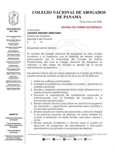 COLEGIO NACIONAL DE ABOGADOS SOLICITA LA REACTIVACIÓN DEL CONSEJO DE POLÍTICAS PENITENCIARIAS