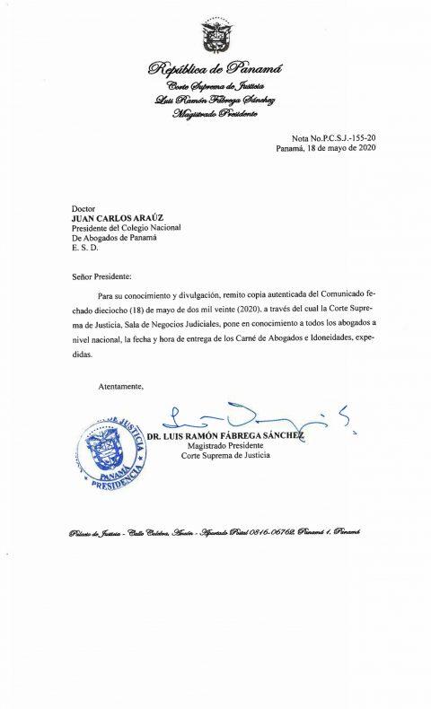 COMUNICADO: SOBRE ENTREGA DE CARNÉ E IDONEIDADES DE ABOGADOS
