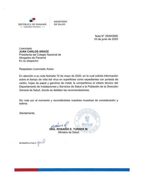 MINISTRA DE SALUD RESPONDE  CONSULTA DEL COLEGIO NACIONAL DE ABOGADOS