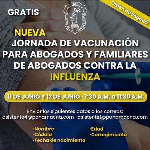 """""""NUEVA"""" JORNADA DE VACUNACIÓN PARA ABOGADOS Y FAMILIARES DE ABOGADOS CONTRA LA INFLUENZA"""