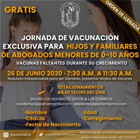JORNADA DE VACUNACIÓN EXCLUSIVA PARA HIJOS Y FAMILIARES DE ABOGADOS