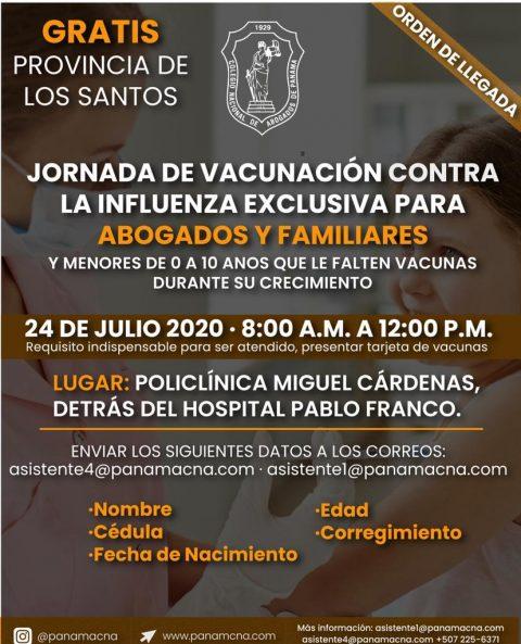ATENCIÓN PROVINCIA DE LOS SANTOS: JORNADA DE VACUNACIÓN CONTRA LA INFLUENZA