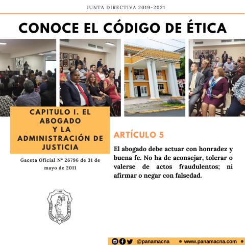 CONOCE EL CÓDIGO DE ÉTICA – ARTÍCULO 5