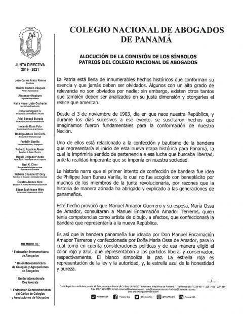 Alocución de la Comisión de los Simbolos Patrios del Colegio Nacional de Abogados