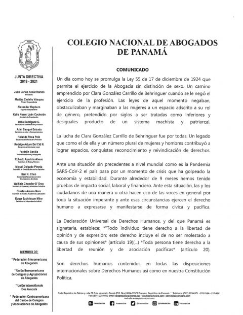 Colegio Nacional de Abogados de Panamá – Comunicado