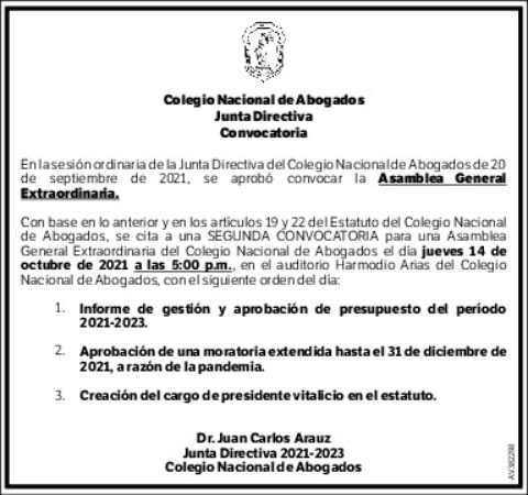 SEGUNDA CONVOCATORIA Asamblea General Extraordinaria Jueves 14 de octubre de 2021